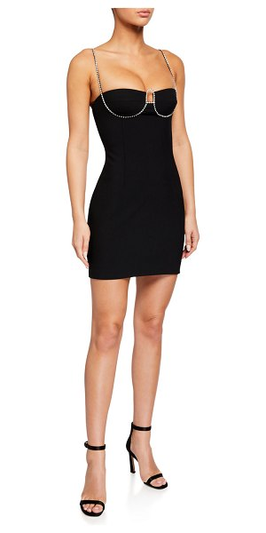 AREA Crystalized Bodycon Dress in black