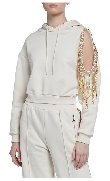 AREA Crystalized Open-Shoulder Hoodie in ivory