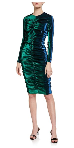 AREA Iridescent Shirred Long-Sleeve Dress in green