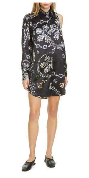 AREA jewelry print long sleeve shoulder cutout shirtdress in jewelry print