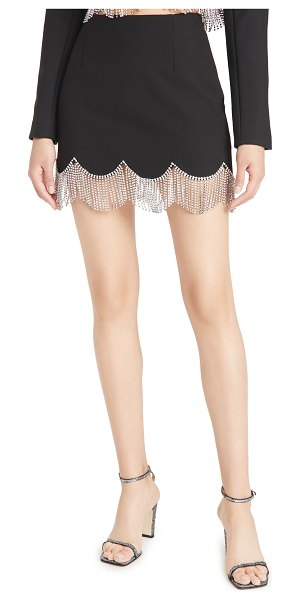 AREA miniskirt with scalloped crystal hem in black/clear