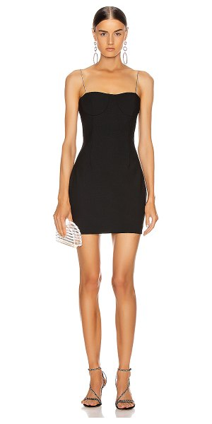 AREA tailored crystal strap slip dress in black