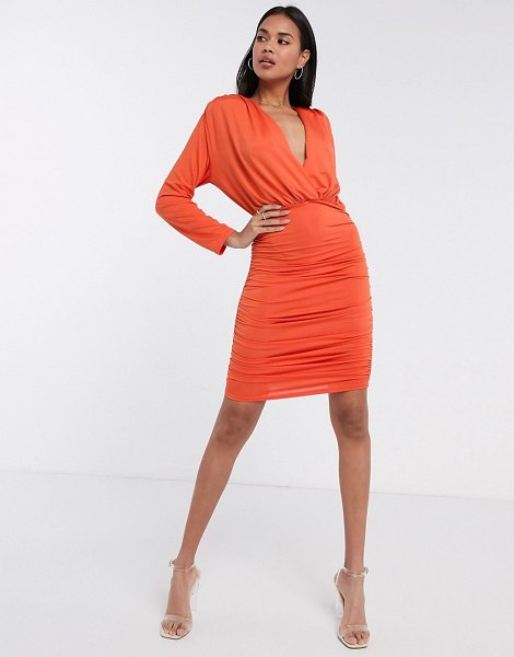 Aria Cove long sleeve plunge front ruched mini dress in orange-brown in brown