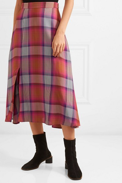 ARIAS checked twill midi skirt in red