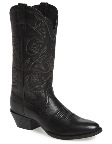 Ariat heritage western r-toe boot in black leather