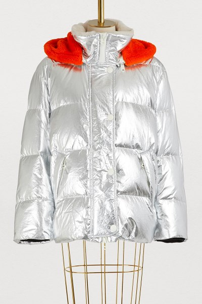 Army by Yves Salomon Fur-lined ultra-light puffer jacket in silver/tropical juice