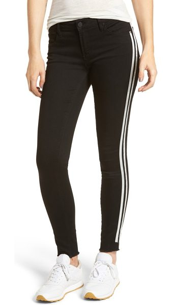 ARTICLES OF SOCIETY sarah stripe skinny jeans in active black - Bright white stripes add track-inspired detailing to a...