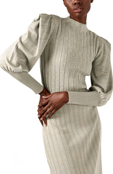 AS by DF anya ribbed juliet sleeve sweater in mist