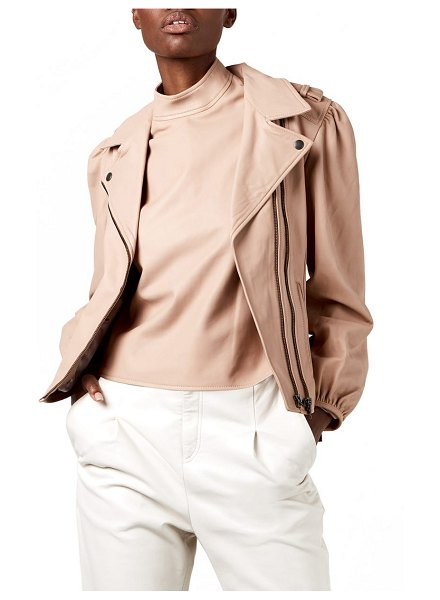 AS by DF mercury faux leather moto jacket in parisian rose