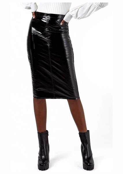 AS by DF port elizabeth recycled leather & knit pencil skirt in patent black