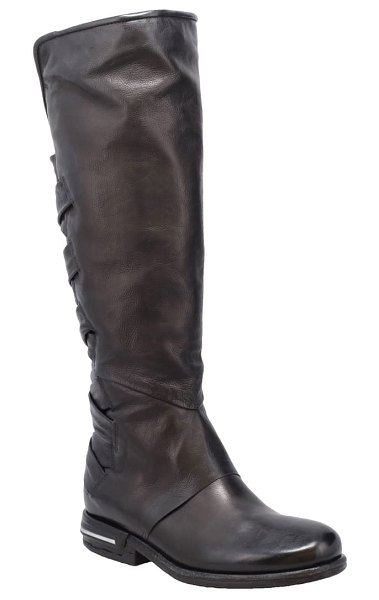 A.S.98 teagan woven knee high boot in black leather