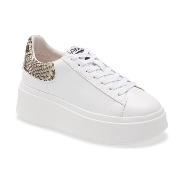 Ash moby platform sneaker in white/ roccia leather