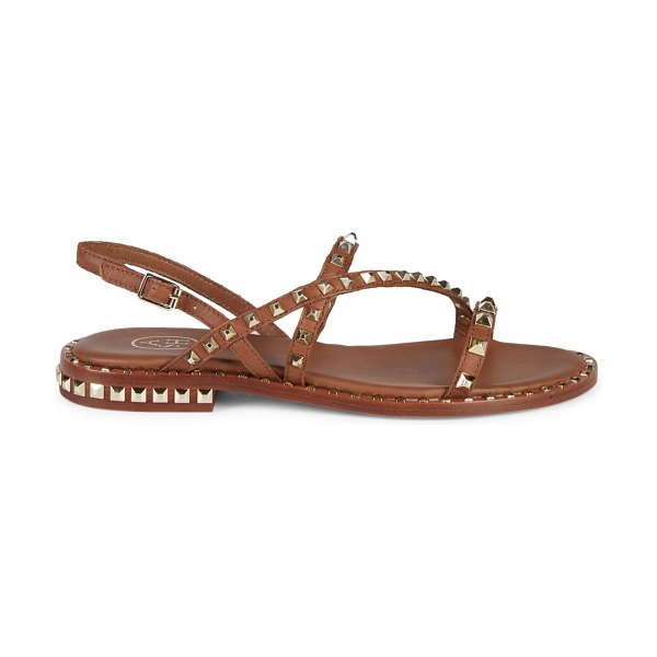 Ash Peace Studded Slingback Leather Sandals in brown