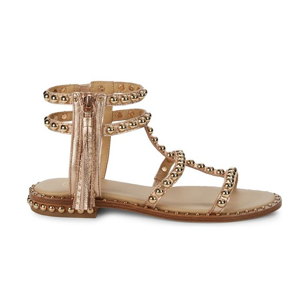 Ash Power Studded Metalic-Leather Sandals in gold