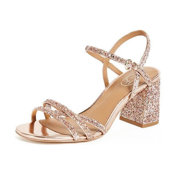 3b27077c0623 Ash sparkle sandals in blush rose gold - Fabric  Glitter weave Calfskin  lining Strappy