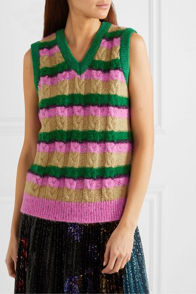 Ashish metallic striped cable-knit vest in beige