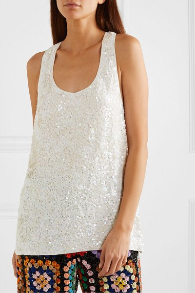 Ashish sequined georgette tank in white