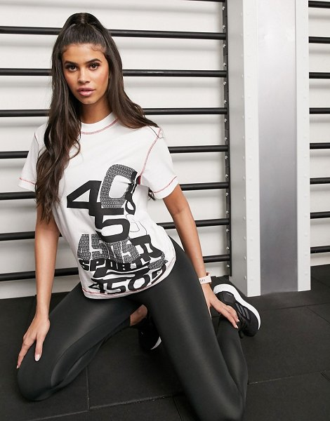 ASOS 4505 mixed logo tshirt with contrast stitch-white in white