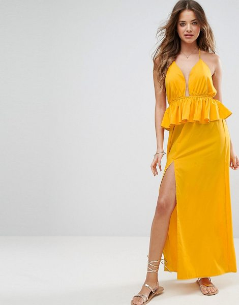 "ASOS Beach Frill Waist Detail Maxi in yellow - """"Beach dress by ASOS Collection, Lightweight jersey,..."
