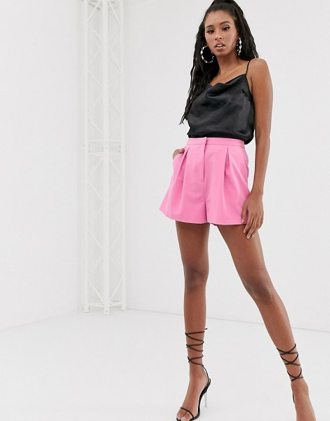 ASOS DESIGN a-line tailored short with pleat front-pink in pink