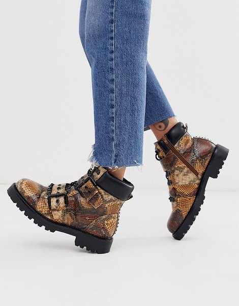 ASOS DESIGN avenue hiker boots in snake-multi in multi