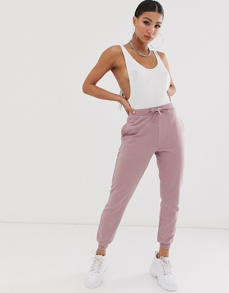 ASOS DESIGN basic jogger with tie in dustymauve