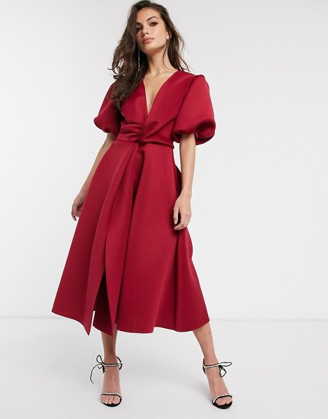 ASOS DESIGN bubble sleeve twist detail midi prom dress in deep red in red