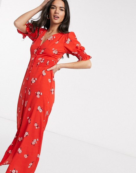ASOS DESIGN button through maxi tea dress with shirred waist in floral print-multi in multi