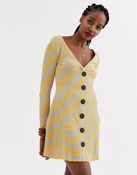 ASOS DESIGN button through rib tea dress with large buttons in stripe-multi in multi