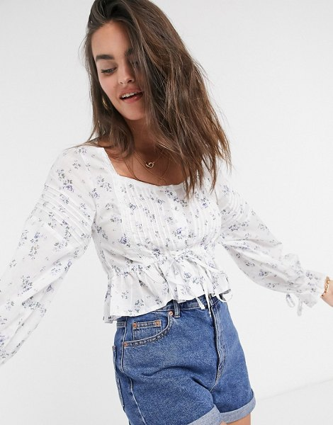 ASOS DESIGN button through top with pleated sleeve in floral print-no color in no color