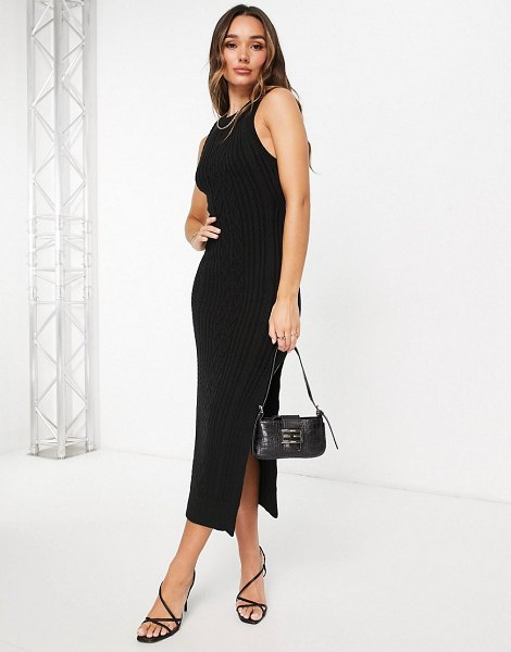ASOS DESIGN cable knit midi dress with open back and thigh split detail in black in black