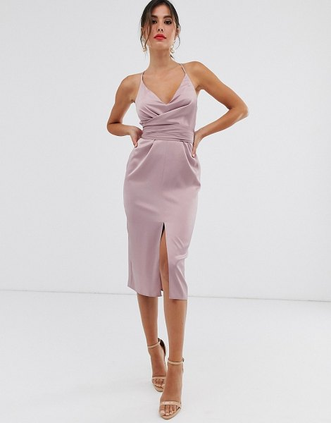 ASOS DESIGN cami midi dress with wrap waist in satin-pink in pink