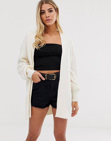 ASOS DESIGN coatigan in fluffy yarn in cream