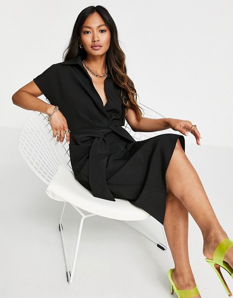 ASOS DESIGN collared wrap front midi dress with knot in black in black