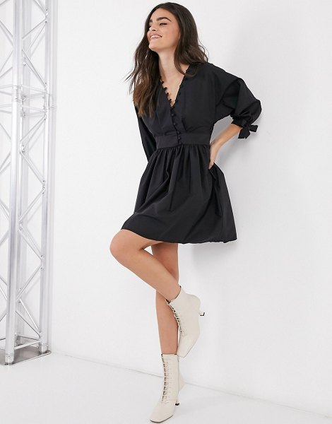 ASOS DESIGN cotton poplin button detail mini smock dress with tie sleeves in black in black