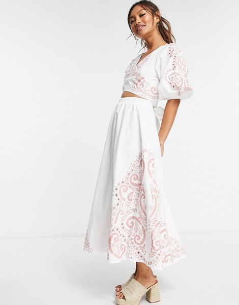 ASOS DESIGN cotton puff sleeve knot front maxi with tonal embroidery in white in white