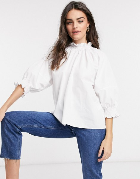 ASOS DESIGN cotton top with high shirred neck and cuff details in ivory-white in white