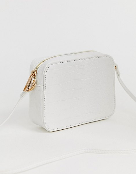 ASOS DESIGN croc effect cross body camera bag-white in white