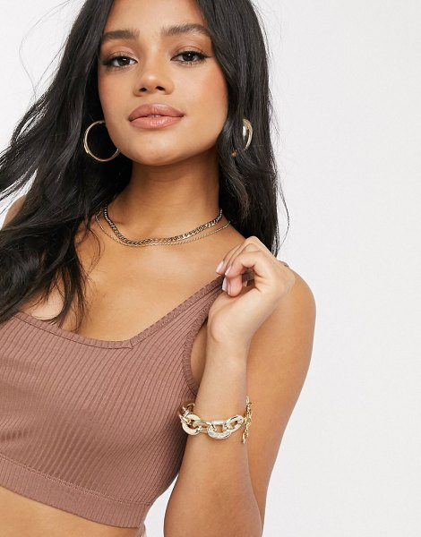 ASOS DESIGN crop cami with square neck and low back in brown in brown