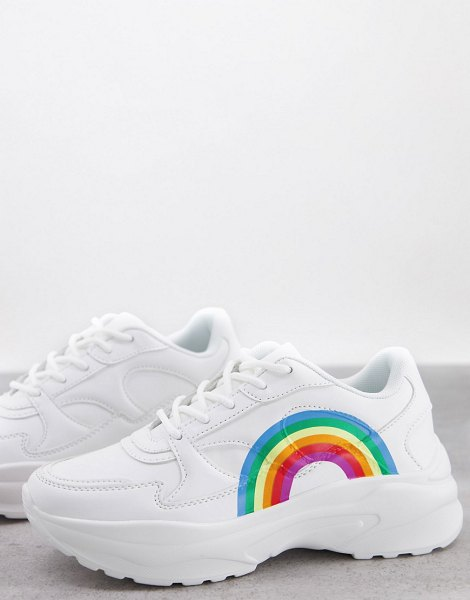 ASOS DESIGN degree chunky sneakers with rainbow-white in white