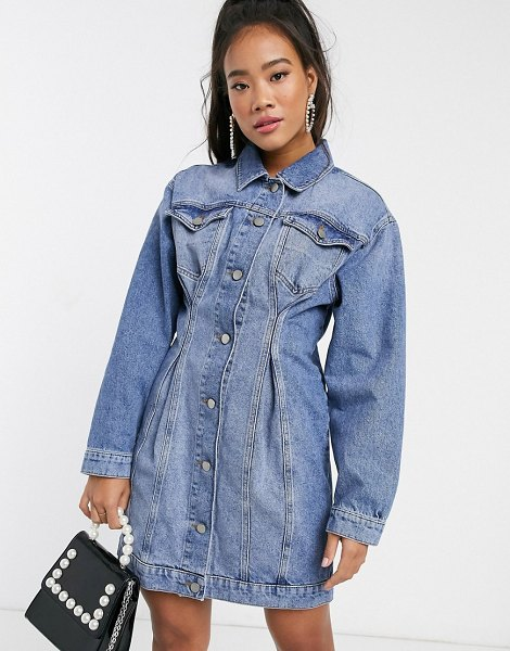 ASOS DESIGN denim jacket dress with pinched front seams in mid wash blue in blue