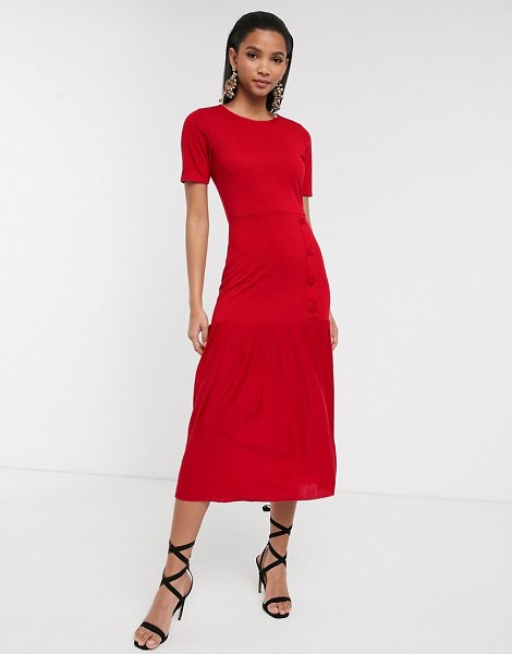ASOS DESIGN dropped waist midi dress with pleated hem in red in red