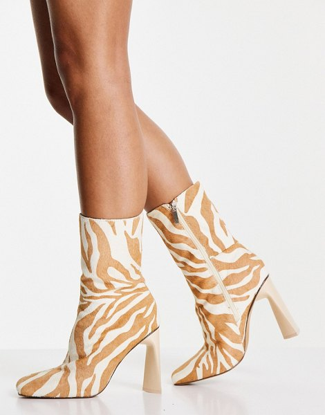 ASOS DESIGN eagle leather high-heeled square toe boots in zebra pony-multi in multi