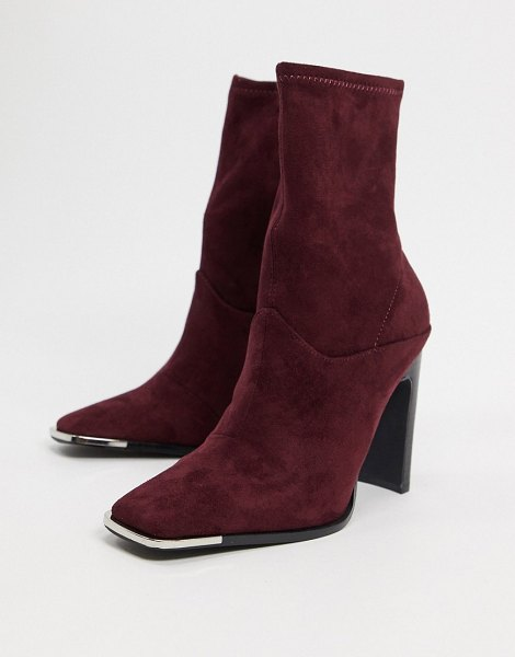 ASOS DESIGN electra high heeled ankle sock boots in burgundy-red in red