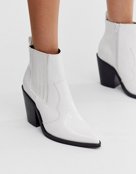 ASOS DESIGN elliot western ankle boots in white croc in white