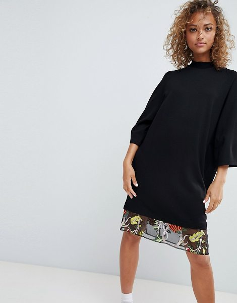 Asos Design Embroidered Mesh Hem T Shirt Dress In Black Shopstasy