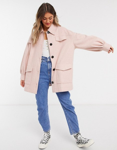 ASOS DESIGN extreme sleeve shacket in pink in pink