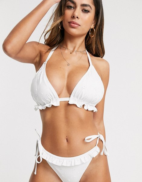 ASOS DESIGN fuller bust mix and match broderie frill triangle bikini top in white dd-g in white
