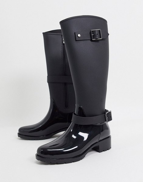 ASOS DESIGN glossy riding boot wellie in black in black