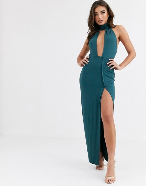 ASOS DESIGN going out deep plunge maxi dress in green in green